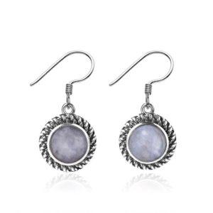 Boucles d'oreilles pierre de lune circulaires