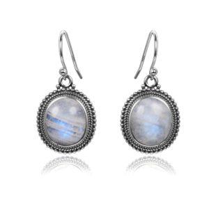 Boucles d'oreilles pierre de lune Reflets bleutés