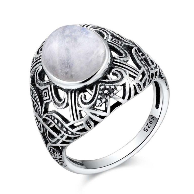 bague pierre de lune blanche