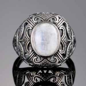 bague pierre de lune blanche argent