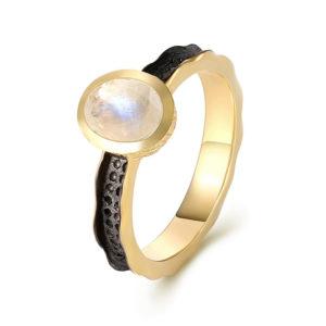Bague pierre de lune et or