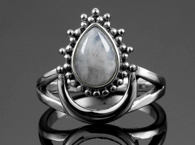 bijoux pierre de lune bague goutte d'eau