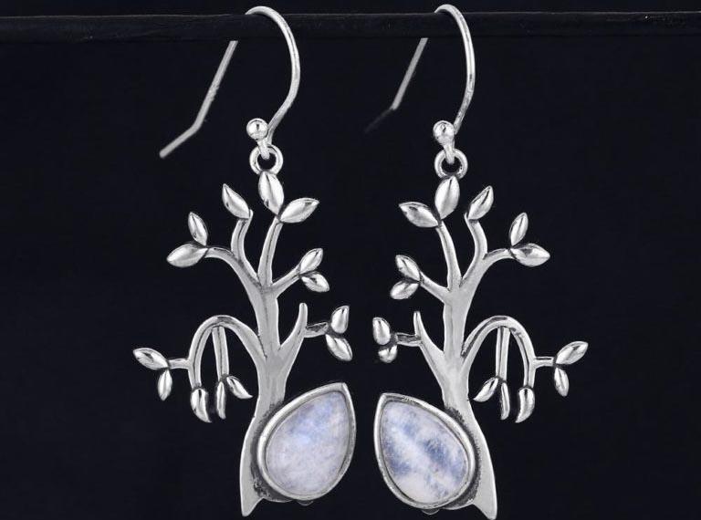 bijoux pierre de lune boucles d'oreilles arbre de vie