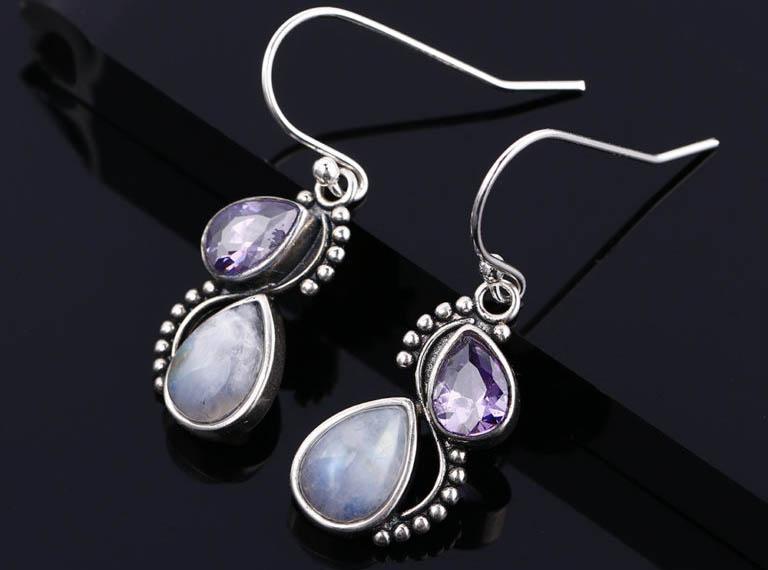 bijoux pierre de lune boucles d'oreilles avec zircons