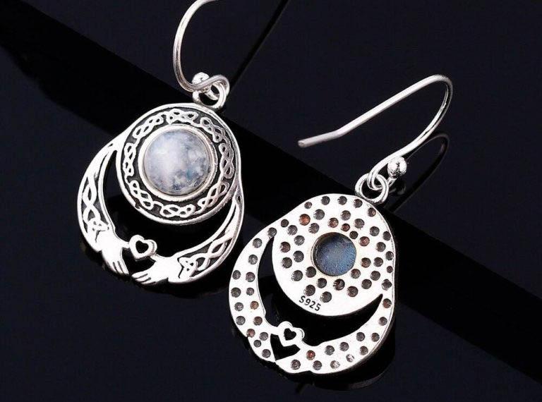 bijoux pierre de lune boucles d'oreilles la réalité