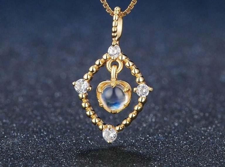 bijoux pierre de lune collier or