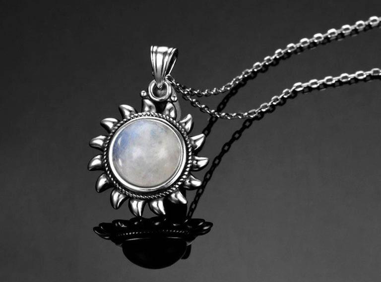 bijoux pierre de lune collier soleil