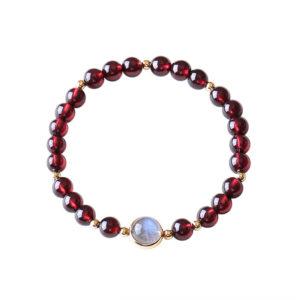 bracelet pierre de lune grenat