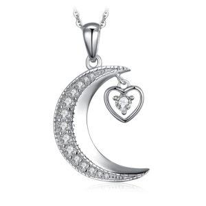 collier lune cœur