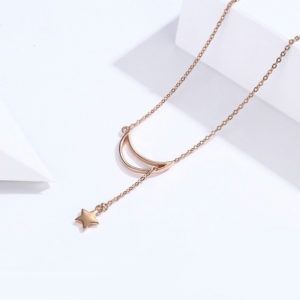 collier lune rose gold femme