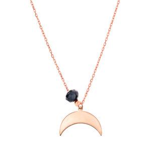 collier demi lune rose