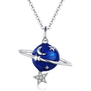 collier lune étoile bleu