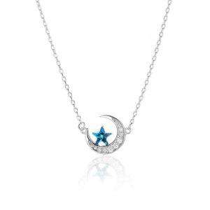 collier lune étoile filante