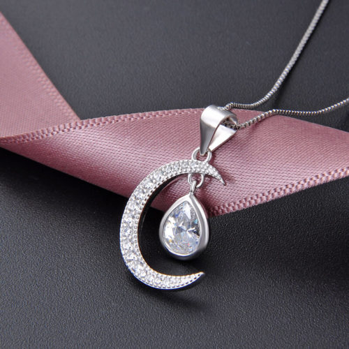 collier lune diamant argent