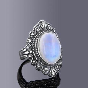 Bague cabochon pierre de lune argent