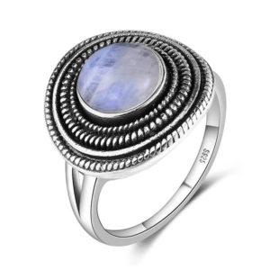bague argent pierre de lune bleu