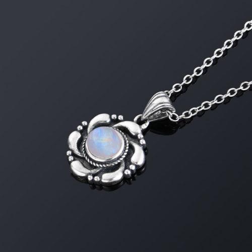 collier femme pierre de lune argent