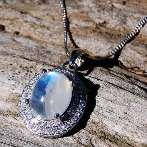 Pendentif pierre de lune véritable argent