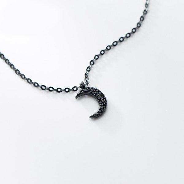 collier lune noir femme