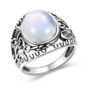 bague pierre de lune bleue